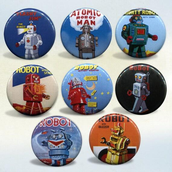 Retro Robots set of 8 magnets