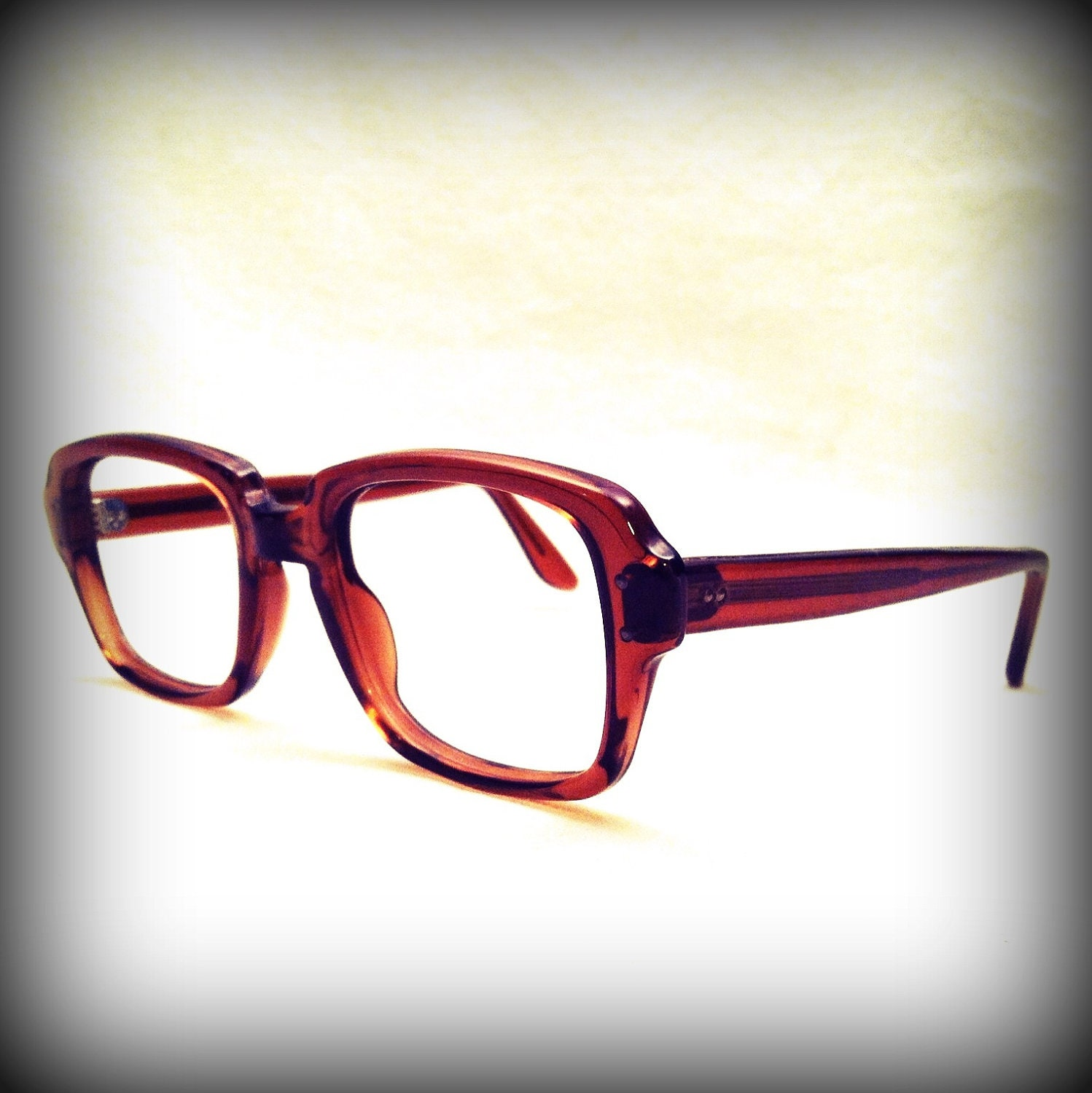 Good Eyeglass Frames For Thick Lenses : Vintage THICK CHUNKY EYEGLASSES / Awesome Brown Military Issue