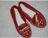 Vintage Red Minnetonka Thunderbird Moccasins size 7