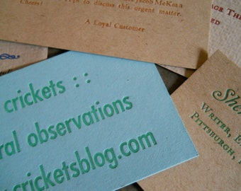 one-color custom letterpress business cards