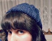 wool watch cap - navy blue heather cable knit winter hat