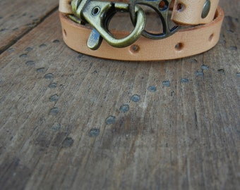Leather Wrap Bracelet in Natural leather with brass buckle and lobster clasp