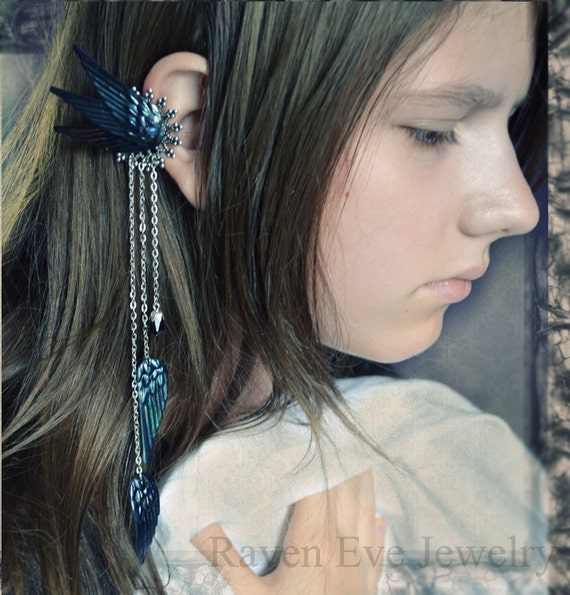 Dark Fairy Ear Cuff Ornate Filigree with Chains and Vintage Sequins