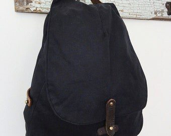 Black Waxed Canvas Backpack