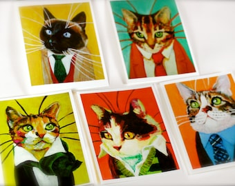 Set of 5 Highly Professional Business Cat Notecards