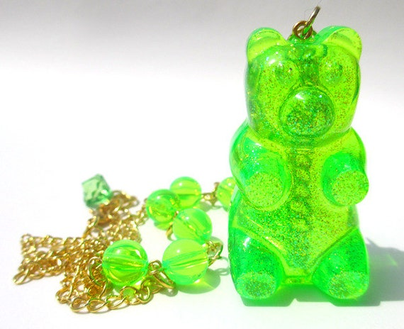 Gummy Bear necklace Neon Lime