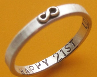 Custom Stamped Thin Infinity Ring