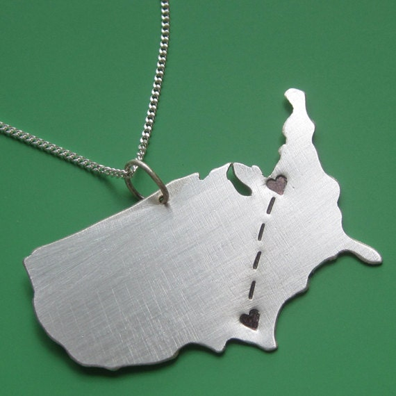 SALE Long Distance Love Customizable Map Necklace