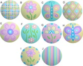 Spring Mix Butterfly Flowers Colorful Pastel Hand Painted Wood Dresser Decorative Furniture Kids Nursery Girls Room Art Drawer Knobs Pulls