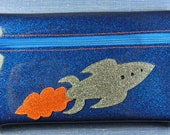 Glitter Vinyl Zip Pouch - Retro Rocket on Blue
