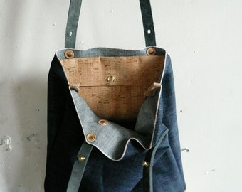 cork and denim summer tote