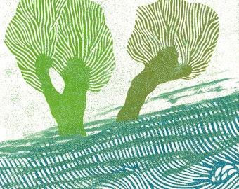 LINOCUT PRINT - Children Wall Art  - Holland Willows 3 - Woodcut Print - Ready to Ship