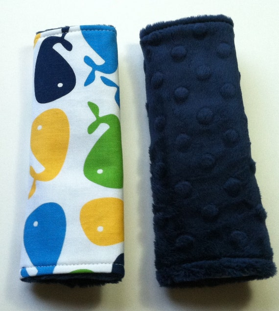 Car Seat Strap Covers - Reversible - Urban Zoologie Whales on Navy Blue Minky Dot