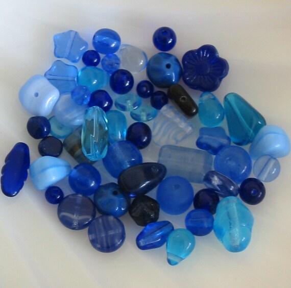 Czech glass bead mix blue assortment