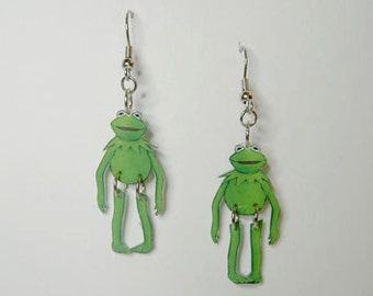 Handcrafted Plastic Kermit Frog Jointed Earrings Made in USA