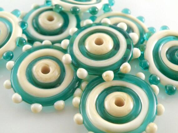 West Coast - Handmade Lampwork Glass Disc Beads - Teal, Ivory - SRA (Set of 8 Beads)