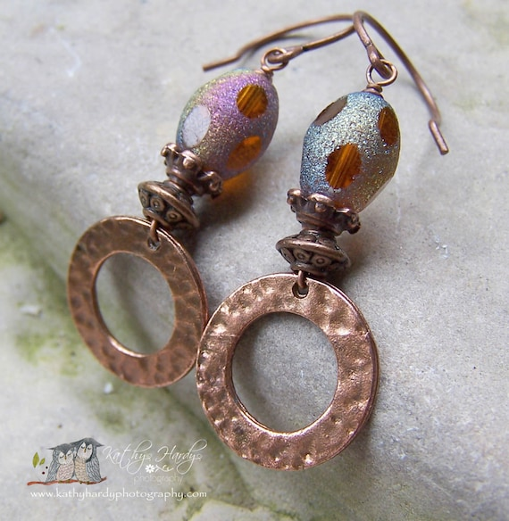 A little bling - Sanded Glass Orange Copper Hoop Earthy Organic Autumn Fall Etsy Earrings Under 20