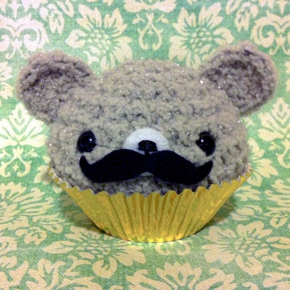 Amigurumi Fancy Mustache Gray Cupcake Bear by AmigurumiKingdom