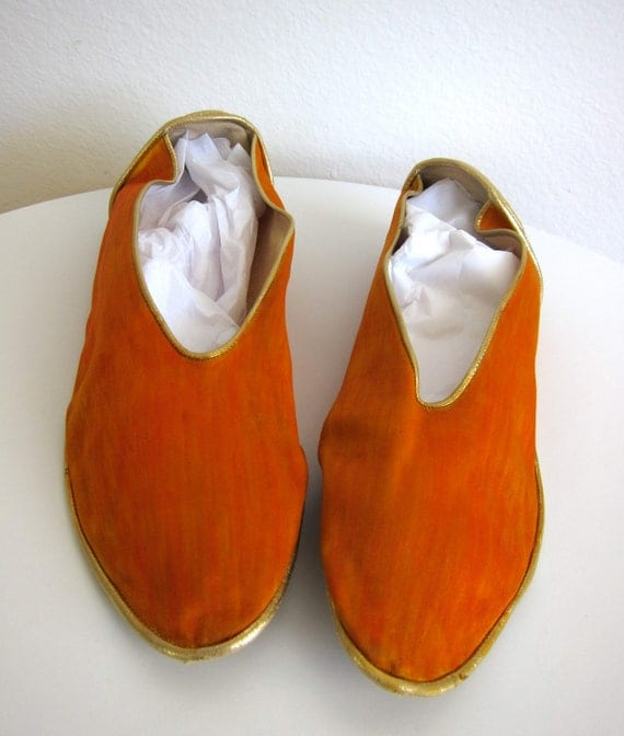 Maud Frizon Club Orange Silk & Gold Leather Harem Flats - Vintage Slippers Ballet Shoes