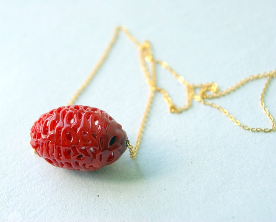 Red Spiderweb Necklace, vintage glass spider web bead, vintage chain, eco fashion