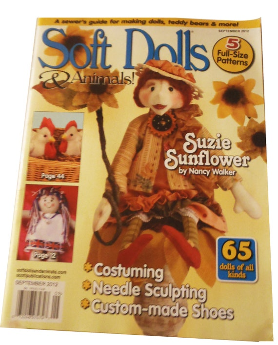 SOFT DOLLS & ANIMALS Magazine- September, 2012,  tutorials, project, doll making, quilting, sewing, bear making, toys, techniques