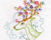 DIY Flowering Antlers Embroidery Pattern PDF download hand embroidery patterns designs