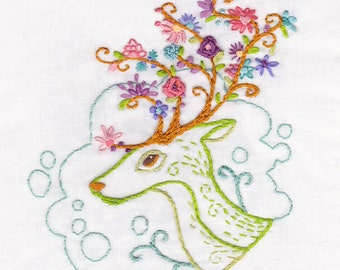 Flowering Antlers Embroidery Pattern PDF download hand embroidery patterns designs