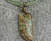 Sunlit Leaves Brecciated Peridot Wire Work Pendant