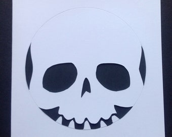 Skull Paper Cut Card