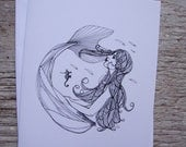 Mermaid and Seahorse Gift Card- Print of Original Illustration