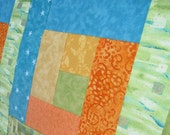 Orange Yellow Green Teal Turquoise Blue Wallhanging or Half size Tablerunner