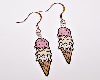 Ice Cream Cone Food Earrings
