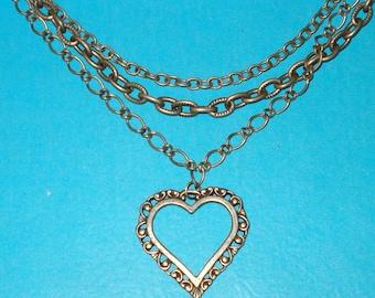 SALE - Vintage 1960s Triple Strand Heart Pendant Necklace - CLEARANCE