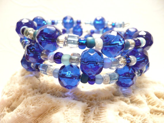 Cobalt Blue Bracelet, Memory Wire Wrap Bracelet, Coil Stack Bangles, Adjustable, Easy On Easy Off