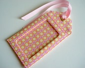 Fabric Luggage Tag - Amy Butler Pink and Yellow dots - travel accessory, great gift idea, wonderful for a bon voyage present