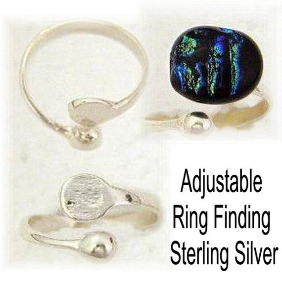 sterling silver ring blanks adjustable cabochons ring finding