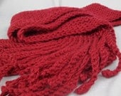 Cherry Red Tentacle Fringe Scarf