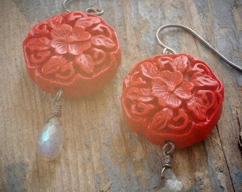 round red floral cinnabar earrings with grey labradorite on oxidized sterling by val b.