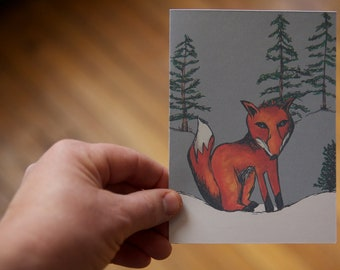 SALE - Fox in the Snow - note card