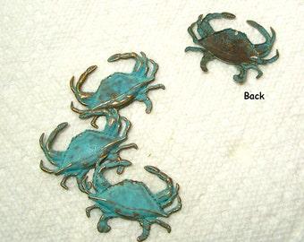Crab Verdigris Patina Finish Brass 4 Pieces