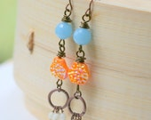 Gypsy Boho Dangle Earrings, Drop Earrings, Blue and Orange Earrings, Long Earrings