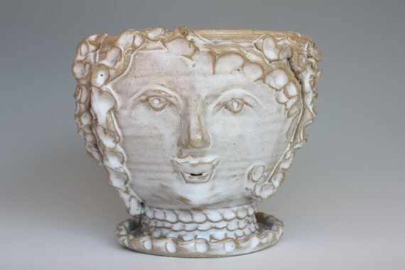 Planter Sculpture with white glaze