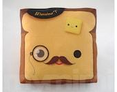 "Movember, Decorative Pillow, Toast Pillow, French Toast, Kawaii Pillow, Mustache Pillow, Monocle, Throw Pillow, Decor Pillow, 7 x 7"""