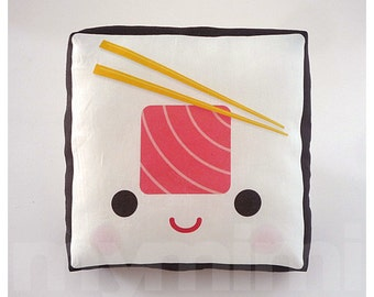Decorative Pillow, Mini Pillow, Kawaii Print, Toy Pillow - Yummy Tuna Sushi Roll