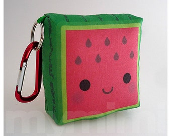 Toy Keychain, Food Pillow, Watermelon Pillow, Kawaii Toy, Backpack Charm, Kids Toys, Party Favor, Stocking Stuffer, Holiday Gift