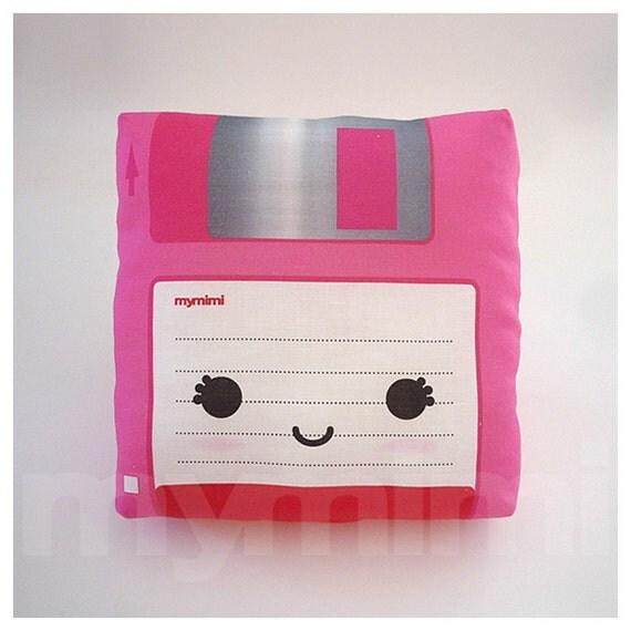 Decorative Pillow, Mini Pillow, Retro Toy Pillow - Pink Floppy Disk
