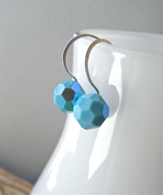 Earrings - vintage turquoise Swarovski crystal, sterling silver - Turcosa