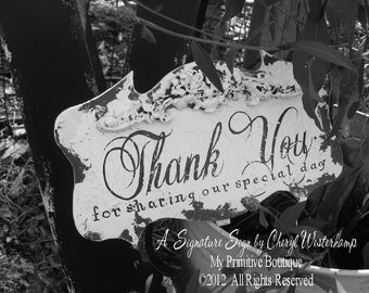 Thank You Sign. Wedding Signs. Thank You Sign for Wedding. Distressed Signs. Wedding Reception Decor. Wedding Reception Sign.
