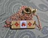 Capricorn Zodiac Necklace / Vintage Enamel / Art Nouveau /