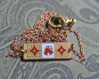Aries Zodiac Necklace / Vintage Enamel / Art Nouveau /